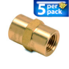 Connector Air Fitting: female, brass, for 1/4n NPT to 1/4in NPT, 5/pk -- BFFC-14N