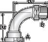 S143H – Code 62 Flange ORFS Male 90º Tube Bend