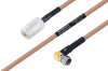 MIL-DTL-17 N Female to SMA Male Right Angle Cable 36 Inch Length Using M17/128-RG400 Coax -- PE3M0074-36 -Image