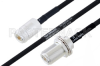 MIL-DTL-17 N Female to N Female Bulkhead Cable 12 Inch Length Using M17/84-RG223 Coax -- PE3M0040-12 -Image