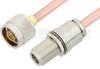 N Male to N Female Bulkhead Cable 6 Inch Length Using RG401 Coax, RoHS -- PE3983LF-6 -Image