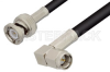 SMA Male Right Angle to BNC Male Cable 12 Inch Length Using RG58 Coax -- PE3850-12 -Image