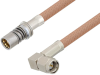Snap-On BMA Jack to SMA Male Right Angle Cable 60 Inch Length Using RG400 Coax -- PE3C4958-60 -Image