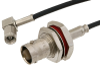 TNC Female Bulkhead to SMC Plug Right Angle Cable 48 Inch Length Using RG174 Coax -- PE36779-48 -Image