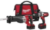MILWAUKEE 18-Volt Hammer-Drill and Sawzall Reciprocating Saw -- Model# 2690-22