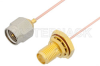 SMA Male to SMA Female Bulkhead Cable 36 Inch Length Using PE-034SR Coax -- PE34243-36 -Image