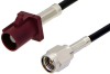 SMA Male to Bordeaux FAKRA Plug Cable 48 Inch Length Using PE-C100-LSZH Coax -- PE39342D-48 -Image