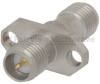 2 Hole Flange RP SMA Female (Jack) to RP SMA Female (Jack) Adapter, Passivated Stainless Steel Body, High Temp, 1.35 VSWR -- SM4991 - Image