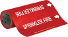 Brady B-946 White on Red Vinyl Self-Adhesive Pipe Marker - 12 in Height - 30 ft Length - Printed Msg = SPRINKLER FIRE with Left Arrow - 15592 -- 754476-15592 - Image