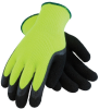 PIP 41-1420 Black/Green Large Acrylic/Terry Cloth Cold Condition Gloves - Latex Foam Palm & Fingers Coating - 10.8 in Length - 616314-21432 -- 616314-21432