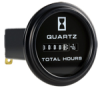Honeywell Quartz Plus dc Hour Meter, round opening, Ø2.27 in flush cup with round black bezel, 0.25 bent blade termination, 10K hours, 10 Vdc to 32 Vdc operating voltage, faceplate: satin black w -- 85371 -Image