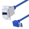 USB 3.0 Type A Coupler, Female Panel mount to Male 90 degree up exit 24in -- MUS3A00040-24I