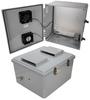 18x16x10 Polycarbonate Weatherproof Outdoor IP24 NEMA 3R Enclosure, 120 VAC MNT PLT, User Adjustable Thermostat Heat & Fan DKGY -- TEPC181610-1HFA2 -Image