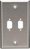 2-Port DB9 Single-Gang Stainless Steel Wallplate -- WP071 - Image