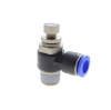 Resin & Brass Body & Resin Release Ring Flow Control Elbow Metric -- View Larger Image