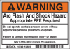 Brady B-302 Black / Orange on White Rectangle Polyester Arc Flash Label - 5 in Width - 3 1/2 in Height - Printed Text = WARNING ARC FLASH AND SHOCK HAZARD APPROPRIATE PPE REQUIRED DO NOT OPERATE CONTR -- 754476-00901