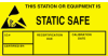 """Label, Yellow/Black 1-3/4"""" x 3""""  """"Static Safe"""" -- 307-1730 -- View Larger Image"""
