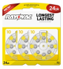 Mercury Free Hearing Aid Batteries Size 10 24-Pack -- L10ZA-24ZM - Image