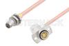 Slide-On BMA Plug Bulkhead to Slide-On BMA Jack Right Angle 2 Hole Flange Cable 36 Inch Length Using RG405 Coax -- PE3C4880-36 -Image