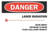 Danger Laser Sign,10 x 14In,R and BK/YEL -- 6CM65