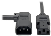 C13 to Right-Angle C14 PDU-Style Power Extension Cord, Heavy Duty - 15A, 100–250V, 14 AWG, 10 ft., Black -- P005-010-14RA - Image