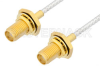 SMA Female Bulkhead to SMA Female Bulkhead Cable 18 Inch Length Using PE-SR405FL Coax, RoHS -- PE34070LF-18 -Image