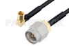 SMA Male to SSMC Plug Right Angle Cable 24 Inch Length Using PE-SR405FLJ Coax -- PE3C4484-24 -Image