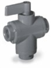 Ball valve, 3-way, 1/4