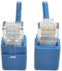 Cat6 Gigabit Snagless Molded Slim UTP Patch Cable with Right-Angle Connectors (RJ45 M/M), Blue, 1 ft. -- N201-SR1-BL
