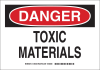 Brady B-555 Aluminum Rectangle White Chemical, Biohazard, Hazardous & Flammable Material Sign - 10 in Width x 7 in Height - TEXT: DANGER TOXIC MATERIALS - 126402 -- 754473-74580