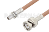 Slide-On BMA Plug Bulkhead to BNC Male Cable 6 Inch Length Using RG400 Coax -- PE3C4963-6 -- View Larger Image