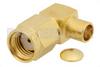 RP SMA Male Right Angle Connector Solder Attachment for PE-SR402AL, PE-SR402FL, RG402 -- PE4790 -Image
