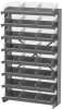 Akro-Mils APRS 400 lb Clear Gray Powder Coated Steel 16 ga Single Sided Fixed Rack - 36 3/4 in Overall Length - 24 Bins - Bins Included - APRS170SC -- APRS170SC - Image