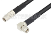 SMA Male to SMA Male Right Angle With Times Connectors Cable 12 Inch Length Using LMR-240 Coax -- PE3C0104-12 -Image