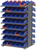 Akro-Mils 1800 lb Blue Gray Powder Coated Steel 16 ga Double Sided Fixed Rack - 36 3/4 in Overall Length - 84 Bins - Bins Included - APRD1836468 BLUE -- APRD1836468 BLUE - Image
