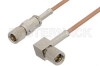 10-32 Male to 10-32 Male Right Angle Cable 12 Inch Length Using RG178 Coax, RoHS -- PE36528LF-12 -- View Larger Image
