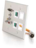 RapidRun® Double Gang Integrated HD15 + 3.5mm + RCA Audio/Video + (4) Keystone Wall Plate - Brushed Aluminum -- 2212-60029-001 - Image