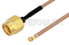 SMA Male to UMCX 2.5 Plug Cable 6 Inch Length Using RG178-DS Coax, RoHS -- PE3CA1027-6 -Image