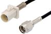 SMA Male to White FAKRA Plug Cable 48 Inch Length Using RG174 Coax -- PE39197B-48 -Image