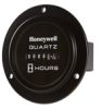 Honeywell Quartz Plus dc Hour Meter, round opening, three screw flange mounting with deluxe black bezel, 0.25 bent blade termination, 10K hours, 10 Vdc to 40 Vdc operating voltage, faceplate: satin bl -- 85325 -Image