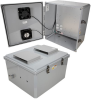 18x16x10 Polycarbonate Weatherproof Outdoor IP24 NEMA 3R Enclosure, 120VAC MNT PLT, Solid State Therm. Power Saver Controlled Dual Fans DKGY -- TEPC181610-10FSX -- View Larger Image