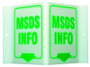 Brady Acrylic V Shape White MSDS Sign - 9 in Width x 6 in Height - TEXT: MSDS INFO - V1MS03A -- 754476-49387