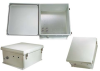 18x16x08 Fiberglass Reinf Polyester FRP Weatherproof Outdoor IP66 NEMA 4 Enclosure, Modified Base Drilled Mount Gray -- TEF181608-01 -Image
