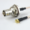 RA MMCX Plug to BNC Female Bulkhead Cable RG316 Coax in 72 Inch -- FMC1938316-72 -- View Larger Image