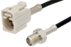 SMA Female to White FAKRA Jack Cable 12 Inch Length Using RG174 Coax -- PE39350B-12 -Image