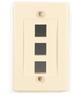 Black Box Connect Wallplate - Single-Gang, Ivory, 3-Port, 25-Pack -- WPIV-3-25PAK-Image