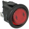 Switch, Rocker, 10A @ 125VAC, SP, On-Off, 0.187 QC, Round, Red, Lighted 12VDC -- 70207299 - Image