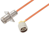 N Female 4 Hole Flange to N Male Right Angle Cable 60 Inch Length Using RG402 Coax -- PE3W07619-60 -- View Larger Image