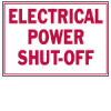 Electric Power Shutoff Labels (Red on White; 3 1/2