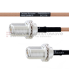 N Female Bulkhead to N Female Bulkhead MIL-DTL-17 Cable M17/128-RG400 Coax in 12 Inch -- FMHR0069-12 -Image